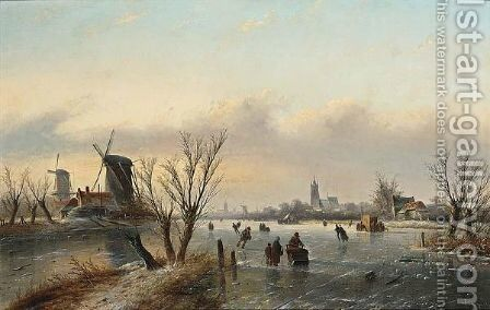 A Winter Landscape With Figures by Jan Jacob Coenraad Spohler - Reproduction Oil Painting