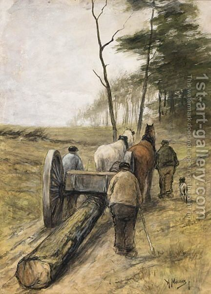 Woodcutters On A Sandy Track by Anton Mauve - Reproduction Oil Painting