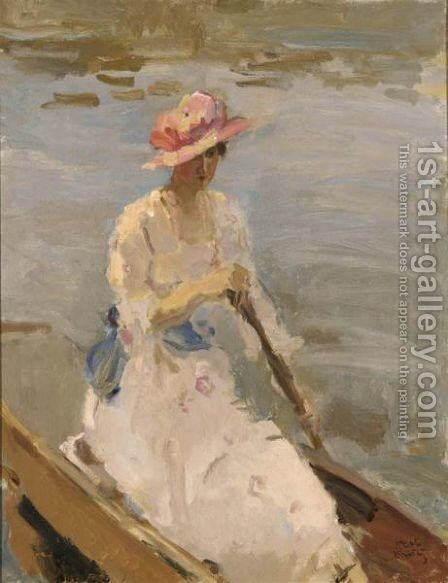 A Lady On A Boat On The River Thames, London by Isaac Israels - Reproduction Oil Painting