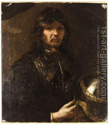Portrait Of A Gentleman In Armour With A Helmet by (after) Harmenszoon Van Rijn Rembrandt - Reproduction Oil Painting