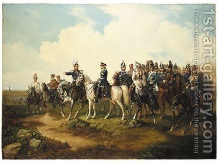 Ernest August I King Of Hanover Mounted On 'General' With His Troops Outside Hanover by (after) Hermann Tunica - Reproduction Oil Painting