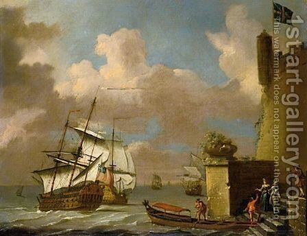 Seascape With Elegant Figures Approaching A Barge, With British Men Of War Beyond by (after) Adriaen Van Diest - Reproduction Oil Painting
