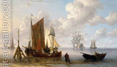 A Man Of War And Other Shipping Off The Coast At Low Tide by Charles Martin Powell - Reproduction Oil Painting