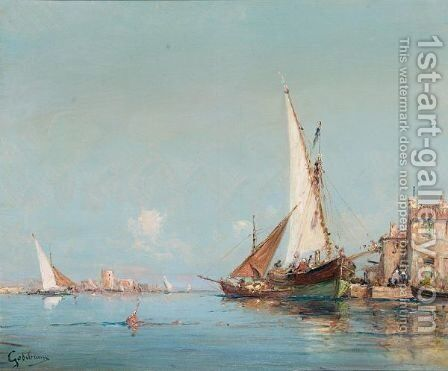Two Views Of The Venetian Lagoon by Alfred Godchaux - Reproduction Oil Painting