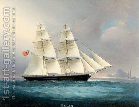 Betah, A Brig Flying The Red Ensign In Chinese Waters by Anglo-Chinese School - Reproduction Oil Painting