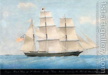 The Barque Black Swan Of South Shields, Commanded By George Swan, Entering The Port Of Marseilles May 2nd 1860 by Honore Pellegrini - Reproduction Oil Painting