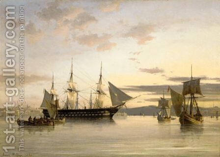 Ships In Calm Water On The Bosporus by Anton Melbye - Reproduction Oil Painting