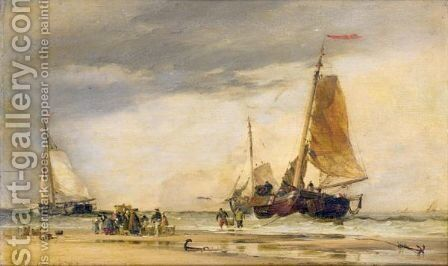 On The Beach Scheveningen by Edward William Cooke - Reproduction Oil Painting