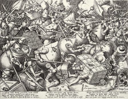 The Fight Of The Money-Bags by (after) Pieter The Elder Bruegel - Reproduction Oil Painting
