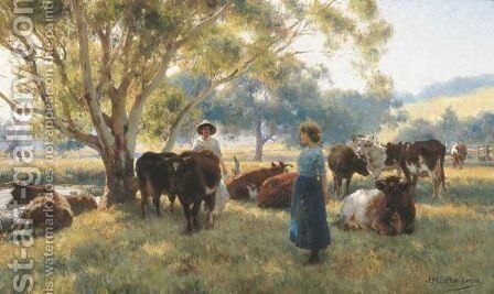 Early Morning Start, Gippsland by Jan Hendrik Scheltema - Reproduction Oil Painting
