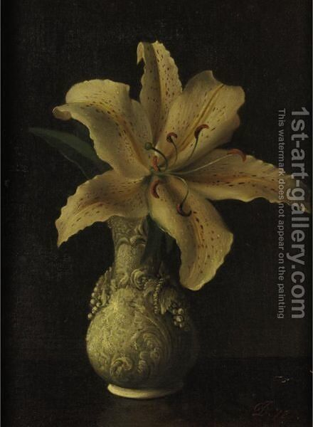 Day Lily In A White Vase by David Johnson - Reproduction Oil Painting
