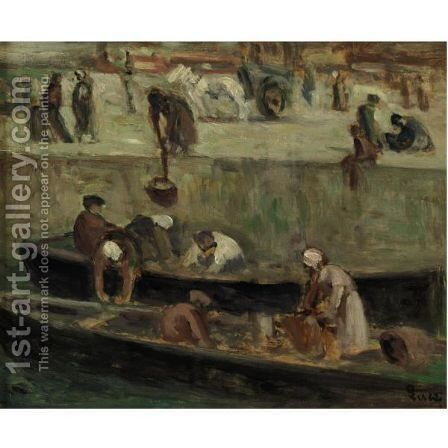 La Seine, Les Lavandieres by Maximilien Luce - Reproduction Oil Painting