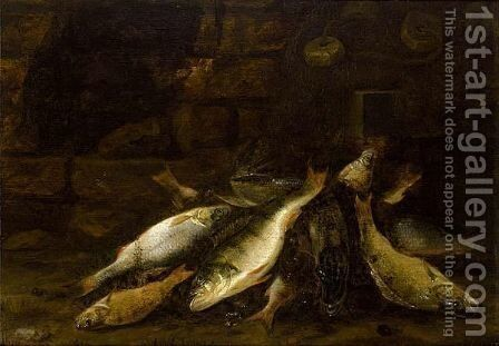 A Pike, Perch And Other Fish On A Bank by Jacob Gillig - Reproduction Oil Painting