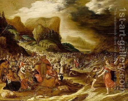 God A's Parting Of The Red Sea To Save The Israelites by (after) Hans Jordaens - Reproduction Oil Painting