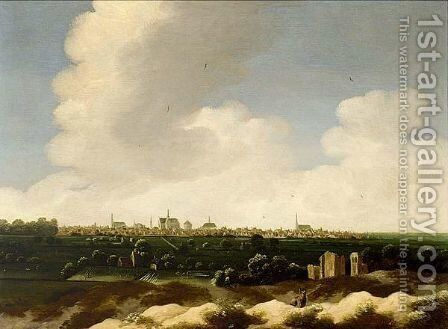 A Panoramic Landscape With A View Of The City Of Leiden Beyond by (after) Jan The Elder Vermeer Van Haarlem - Reproduction Oil Painting