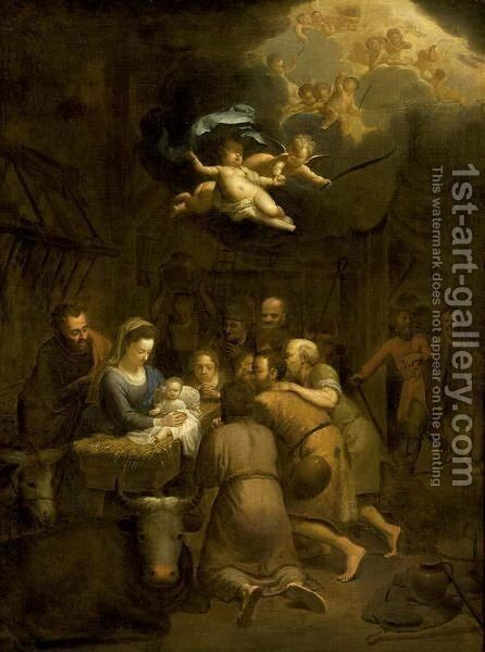 The Adoration Of The Shepherds by (after) Francois Verwilt - Reproduction Oil Painting