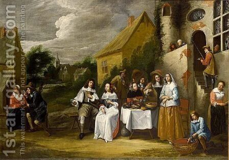 An Elegant Company Drinking And Eating Outside An Inn by (after) Gillis Van Tilborgh - Reproduction Oil Painting