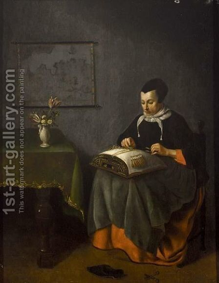 A Girl Embroidering by (after) Pieter Cornelisz. Van SLINGELANDT - Reproduction Oil Painting