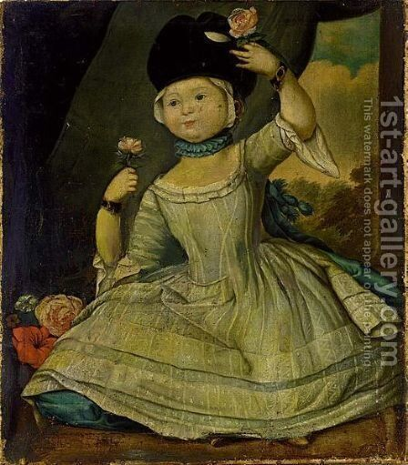 A Portrait Of A Girl, Full Lenght Wearing A Blue And White Dress, Holding Roses by Dutch School - Reproduction Oil Painting