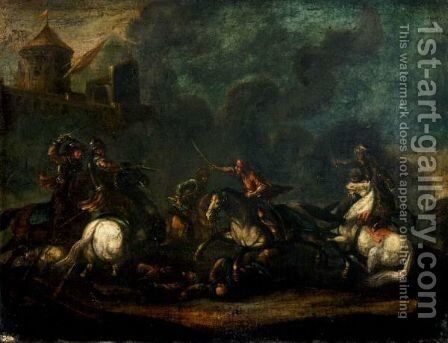 A Cavalry Skirmish On The Outskirts Of A Village by (after) Jacques Courtios, Il Borgognone - Reproduction Oil Painting