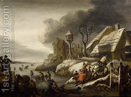 A Winter Landscape With Figures Skating On A Frozen Pond, A Horse Drawn Sleigh Returning Home by (after) Cornelis Beelt - Reproduction Oil Painting
