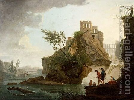Anglers In A Mountainous River Landscape, A View Of A Ruin On A Hill Top Beyond by (after) Claude-Joseph Vernet - Reproduction Oil Painting