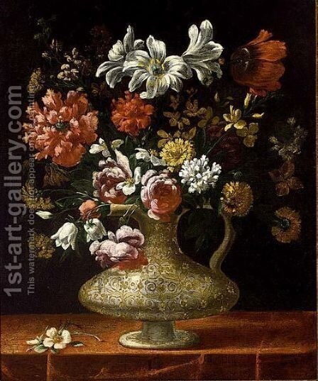 A Still Life With Roses, Peonies, Lilies And Other Flowers, All In An Italian 16th Century Maiolica Vase On A Draped Table by Spanish School - Reproduction Oil Painting