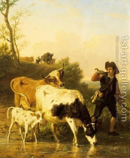 Tending The Herd by Edmond Jean Baptiste Tschaggeny - Reproduction Oil Painting