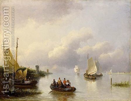 Sailing Vessels In An Estuary by Johann Hendrik Morrien - Reproduction Oil Painting
