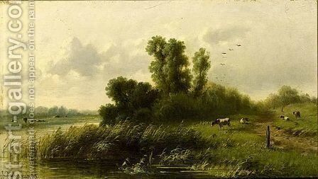 Cows In A River Landscape by Cornelis Sr Westerbeek - Reproduction Oil Painting