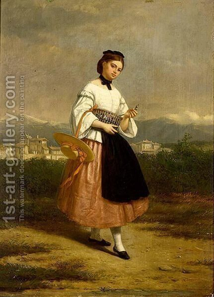 A Girl In An Italian Dress by Charles Augustine Wauters - Reproduction Oil Painting