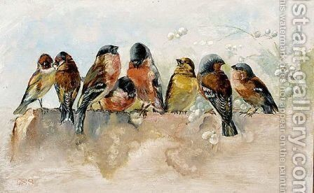 Birds On A Wall by Cornelis Samuel Stortenbeker - Reproduction Oil Painting