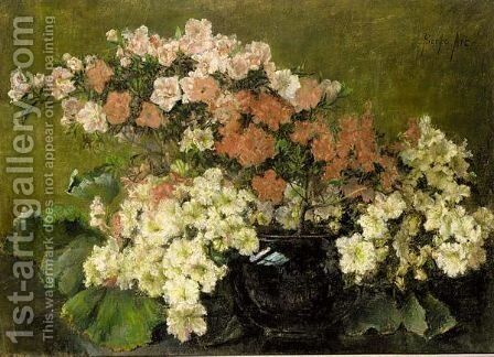 A Still Life With Azalea by Berthe Art - Reproduction Oil Painting