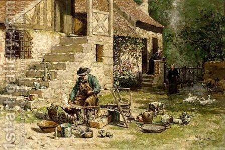 A Tinker by Henri Louis Saintin - Reproduction Oil Painting