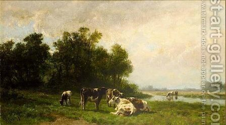 Cows In A Meadow by Hendrik Savrij - Reproduction Oil Painting