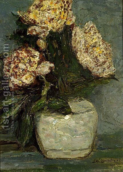 Flowers In A Stone Jar by Jan Adam Zandleven - Reproduction Oil Painting