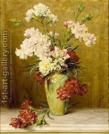 A Still Life With Carnations In A Green Vase by Gustave Bienvetu - Reproduction Oil Painting