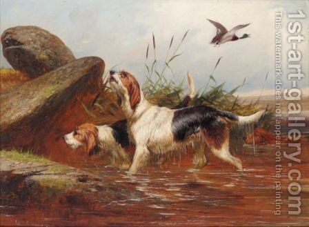 A Pair Of Otter Hounds by Colin Graeme Roe - Reproduction Oil Painting