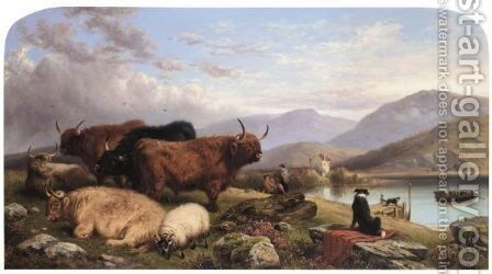 A Highland Ferry by Aster R.C. Corbould - Reproduction Oil Painting