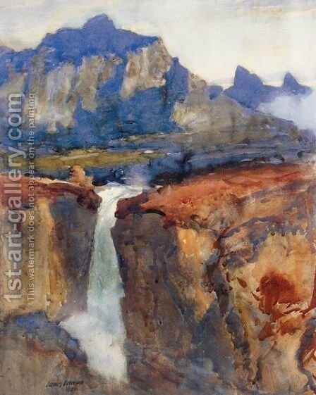 A Highland Waterfall by James Paterson - Reproduction Oil Painting