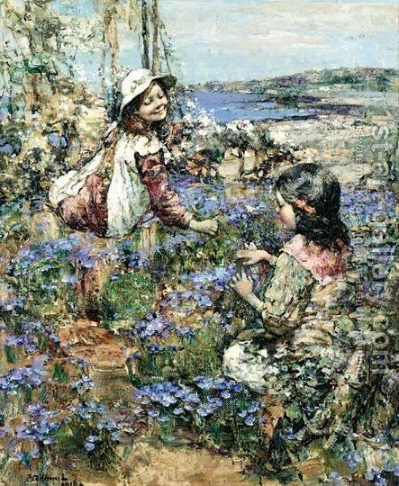 Girls Among The Violets by Edward Atkinson Hornel - Reproduction Oil Painting