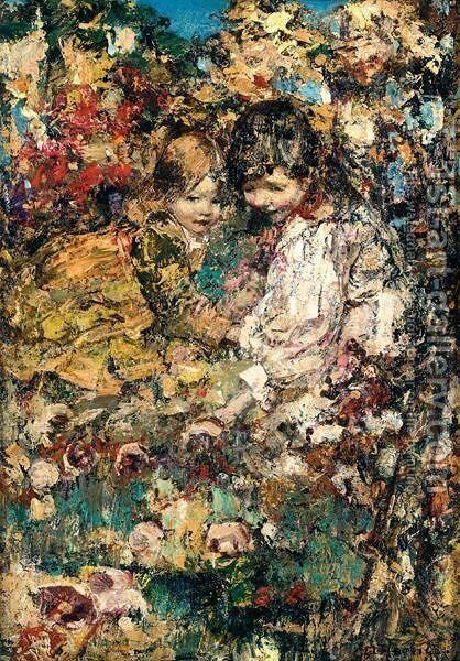 Girls Gathering Mushrooms by Edward Atkinson Hornel - Reproduction Oil Painting