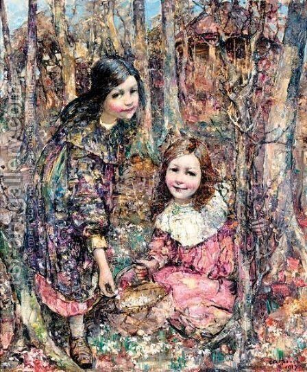 Two Girls Gathering Snowdrops by Edward Atkinson Hornel - Reproduction Oil Painting