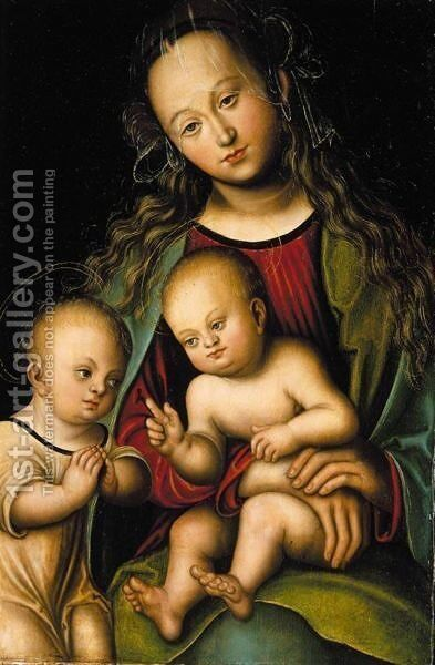 Virgin And Child With The Infant St. John The Baptist by (after) Lucas The Elder Cranach - Reproduction Oil Painting