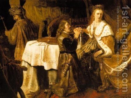 Haman Pleading With Esther For His Life by (after) Harmenszoon Van Rijn Rembrandt - Reproduction Oil Painting