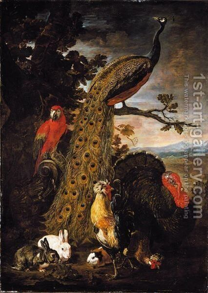 A Landscape With A Peacock, Parrot, Chicken, Turkey, Two Rabbits And A Guinea-Pig by David de Coninck - Reproduction Oil Painting