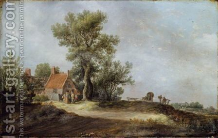 Landscape With Peasants Before A Dilapidated Cottage by Jan van Goyen - Reproduction Oil Painting