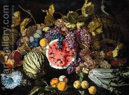 A Still Life Of Grapes, Plums, Watermelons, Peaches, Lemons, A Cardoon, An Open Pomegranate, Together With A Shell by Guiseppe Ruoppolo - Reproduction Oil Painting
