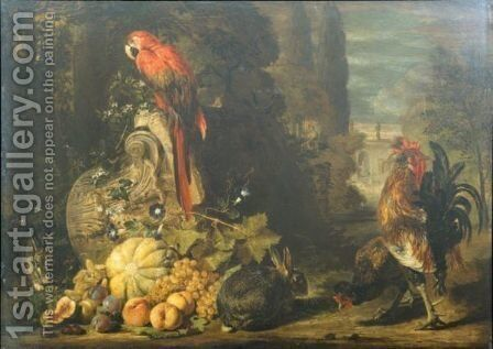 Still Life Of A Melon, Peaches, Grapes And Plums, Together With Rabbits, A Parrot, Cockerel And Hen, Gathered Around An Over-Turned Corinthian Column Capital, A Parkland Setting Beyond by David de Coninck - Reproduction Oil Painting