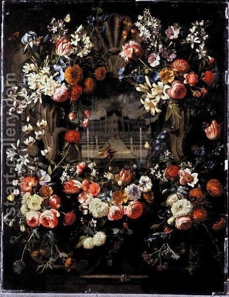 Still Life Of Garlands Of Flowers Adorning A Carved Stone Window, A Palace Garden With David And Bathsheba Beyond by Gaspar Peeter The Elder Verbruggen - Reproduction Oil Painting